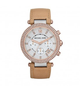 [Original] Michael Kors MK5633 Parker Chronograph Silver Dial Brown Leather Strap Analog Ladies Watch