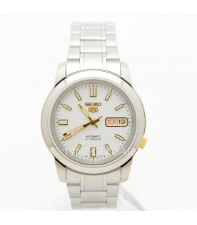 [Original] Seiko 5 Automatic Stainless Steel White Dial Day Date Analog Watch SNKK07K1