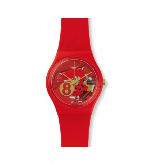 [Original] Swatch Eight For Luck GR166 Analog Gent Skeleton Red Watch