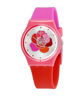 [Original] Swatch Only For You GZ299 Analog Ladies Pink Red Band Watch