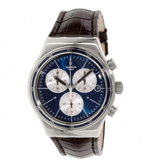 [Original] Swatch Destination London YVS410C Analog Gent Chronograph blue brown Watch