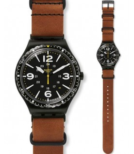 [Original] Swatch Special Unit YWB402C Analog Gent Brown Leather Date Watch