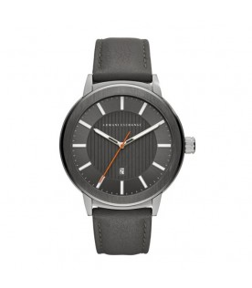 [Original] Armani Exchange AX1462 Grey Leather Strap Men Analog Watch