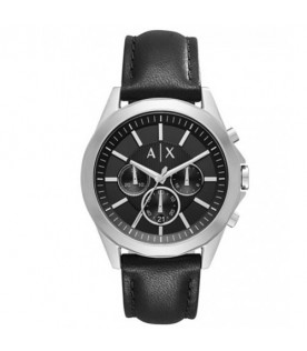 [Original] Armani Exchange AX2604 Black Leather Strap Men Black Analog Chronograph Watch