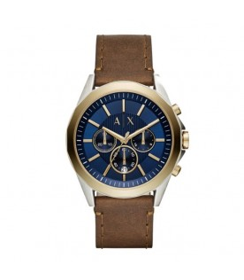[Original] Armani Exchange AX2612 Brown Leather Strap Men Analog Blue Chronograph Watch
