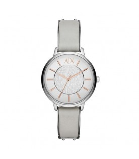 [Original] Armani Exchange AX5311 Grey Leather Strap Ladies Analog Basic Watch