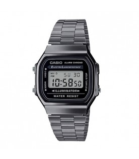[Original] Casio A168WGG-1A Youth Vintage Series Digital Gray Ion Plated Stainless Steel Watch