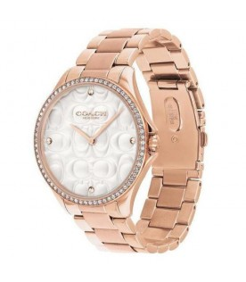 [Original] Coach 14503068 Signature C Dial Analog Rose Gold Stainless Steel Ladies Watch