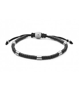 [Original] Fossil Black Agate Corded Men Bracelet JF03006040