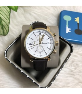 [Original] Fossil BQ1009 Rhett Chronograph Brown Leather White Analog Men Watch