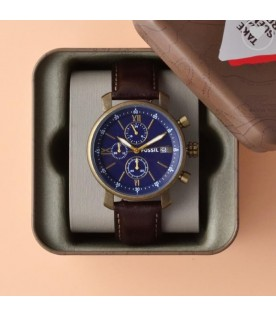 [Original] Fossil BQ2099 Rhett Chronograph Brown Leather Blue Analog Men Watch