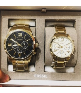 [Original] Fossil BQ2145SET Couple Valentine Chronograph Gold-Tone Stainless Steel Watch Set
