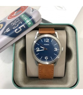 [Original] Fossil BQ2304 Ledger Three-Hand Brown Leather Blue Analog Men Watch