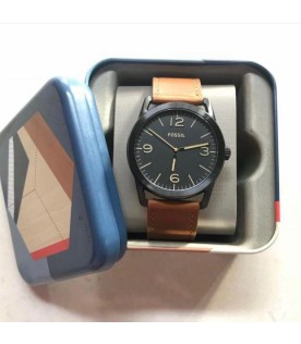 [Original] Fossil BQ2305 Ledger Three-Hand Brown Leather Black Analog Men Watch