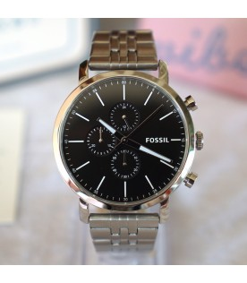 [Original] Fossil BQ2328IE Luther Chronograph Stainless Steel Black Analog Men Watch