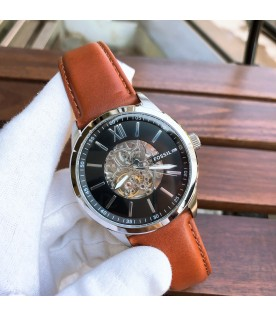 [Original] Fossil BQ2386 Flynn Automatic Brown Leather Black Analog Men Watch