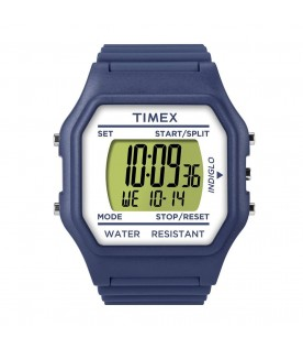 [Original] Timex T2N073 Classic Digital Unisex Blue Silicone Stopwatch Alarm Light Watch