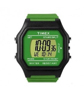[Original] Timex T2N076 Classic Digital Unisex Green Silicone Stopwatch Alarm Light Watch