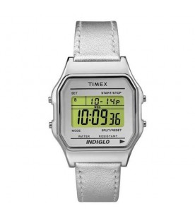 [Original] Timex TW2P76800 Indiglo Classic Digital Silver Leather Watch